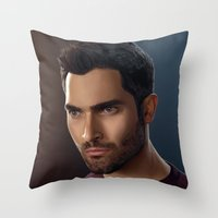 derek hale Throw Pillows featuring Derek Hale / Tyler Hoechlin by theconsy