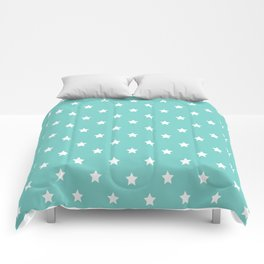 Blue Tiffany With White Stars Pattern Comforters