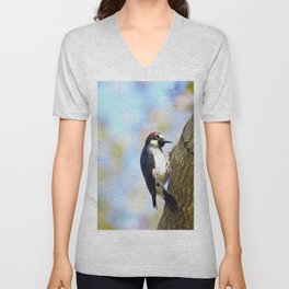 Acorn Woodpecker 2 by Reay of Light Unisex V-Neck