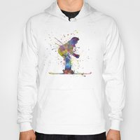 skiing Hoodies featuring woman skier skiing by Paulrommer