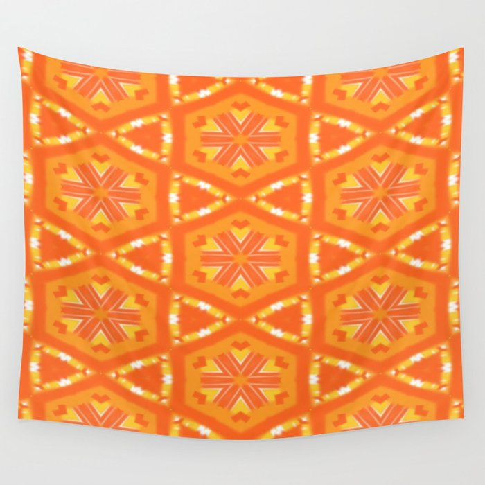 Orange and Yellow Stars and Hearts 9055 Wall Tapestry