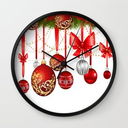 ORNATE HANGING RED CHISTMAS TREE DECORATIONS Wall Clock