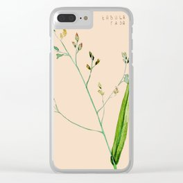 Tiny green branch with Latin words Clear iPhone Case