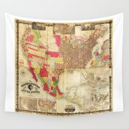 The Washington Map of the United States (1860) Wall Tapestry
