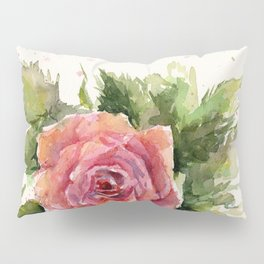 Red Rose Watercolor Pink Rose Flower Floral Art Pillow Sham
