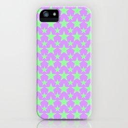 Green Star Pattern on Purple iPhone Case