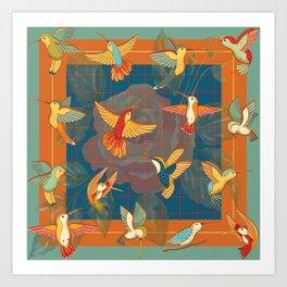 Hummingbirds in Orange Art Print