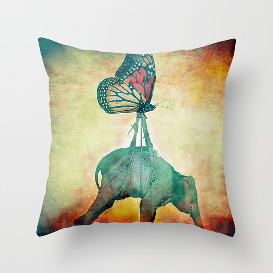 The elephant and the butterfly Throw Pillow