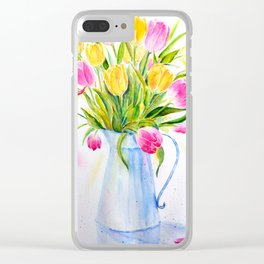 Watercolor vase of tulips Clear iPhone Case