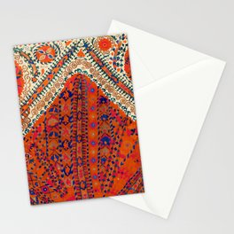 Orange Wildflower Sunshine III // 18th Century Colorful Rusty Red Bright Blue Metallic Happy Pattern Stationery Cards