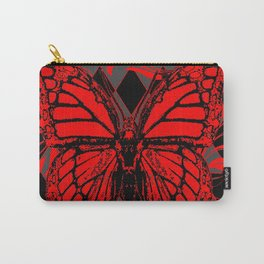 RED MONARCH BUTTERFLIES  ON BLACK-GREY HARLEQUIN ART Carry-All Pouch