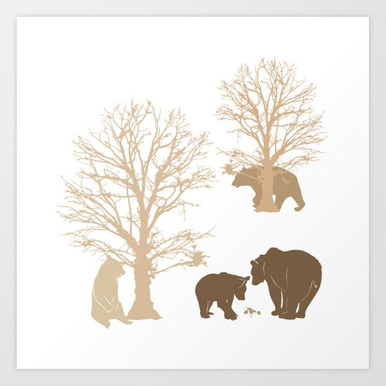 Morning Bears In The Woods No. 2 Art Print