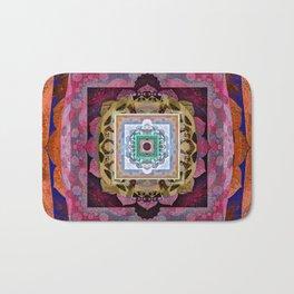 Rustic Antique Tones Sacred Geometry Boho Mandala Bath Mat