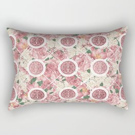 Double Happiness Symbol on Gentle Peony pattern Rectangular Pillow