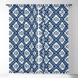 Aztec Symbol Ptn White on Dk Blue Blackout Curtain