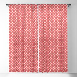 Tiny Paw Prints Pattern - Bright Red & White Sheer Curtain