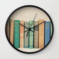 literary Wall Clocks featuring Literary Gems I by Laura Ruth