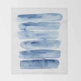 Blue Lines | Watercolor Painting Throw Blanket
