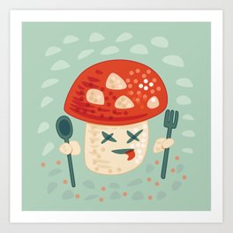 Funny Cartoon Poisoned Mushroom Art Print