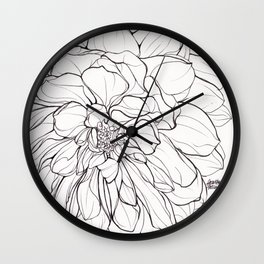 Ink Illustration of a Dahlia Wall Clock