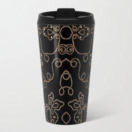 Elegant gold embellishments on black Travel Mug