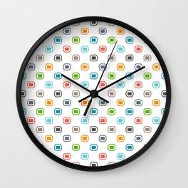 Colorful Dot Squares. 80s Comeback Wall Clock