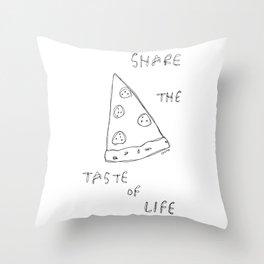 Taste of Life - pizza illustration Throw Pillow