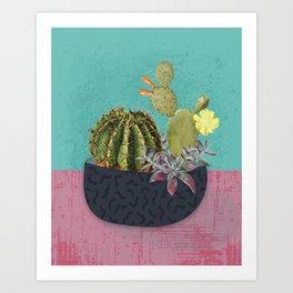 Prickly pear cactus art print Art Print
