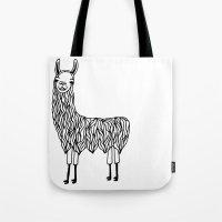 llama Tote Bags featuring Llama by Lizzie Scott