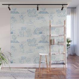 Alice in Wonderland Toile Blue Wall Mural