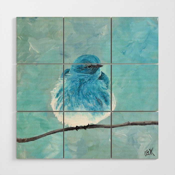 Mountain Bluebird Acrylic Art Blue Bird Painting Bird On A Branch Wall Art Fluffy Bird Wood Wall Art By Ahockenberry