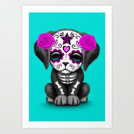 Cute Purple and Blue Day of the Dead Puppy Dog Art Print