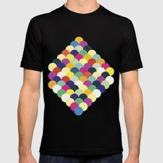 Colorful Circles Black MEDIUM Mens Fitted Tee
