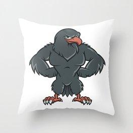 Black Hawk Cartoon  Throw Pillow