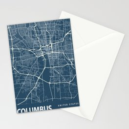 Columbus Blueprint Street Map, Columbus Colour Map Prints Stationery Cards