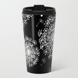 DANDELION SNOWFLAKE BLACK Travel Mug