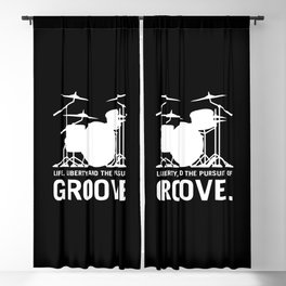 Life, Liberty, and the pursuit of Groove, drummer's drum set silhouette illustration Blackout Curtain