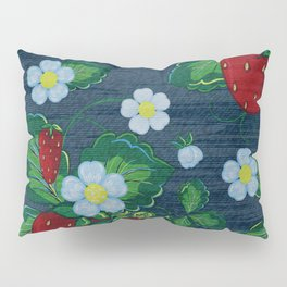 Strawberries and Daisies - Strawberry Patch  - Fruit Pillow Sham