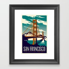 San Francisco Golden Gate Bridge Retro Vintage Framed Art Print