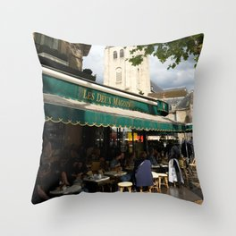 Les Deux Magots Throw Pillow