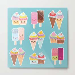 Kawaii cupcakes, ice cream in waffle cones, ice lolly Metal Print