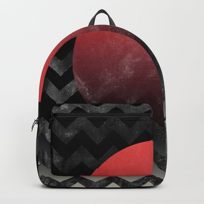 Red Sun in Geometric Waves Backpack