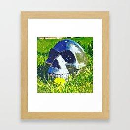 Skull with yellow flower Framed Art Print
