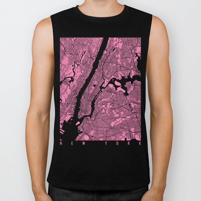 New York map pink Biker Tank