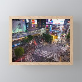 Crowd walking across Shibuya crossing in Tokyo, Japan Framed Mini Art Print