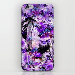 HORSE ROSES DRAGONFLY IMPRESSIONS iPhone Skin