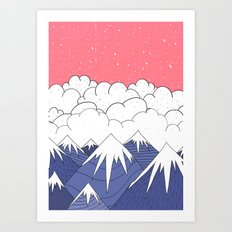 The mountains and the clouds Art Print