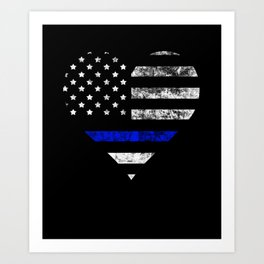Thin Blue Line Police Officer LEO USA America Flag Heart Gift Cop Sherrif Blue Lives Matter Art Print