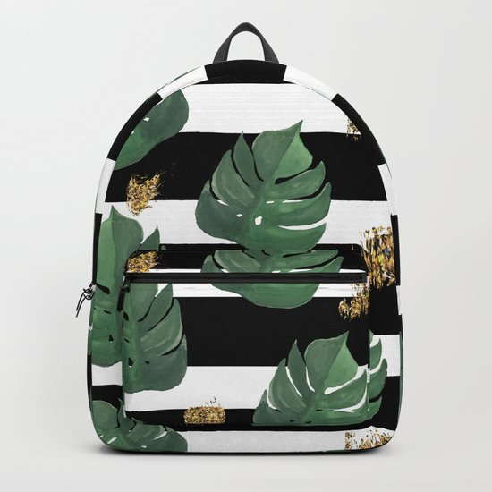 Seamless tropical leaves pattern on stripes background. Greens leaves of exotic monstera plant. Retr Backpack