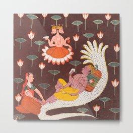 Vishnu on Ananta, the Endless Serpent, Vintage Indian Art, 1700 Metal Print